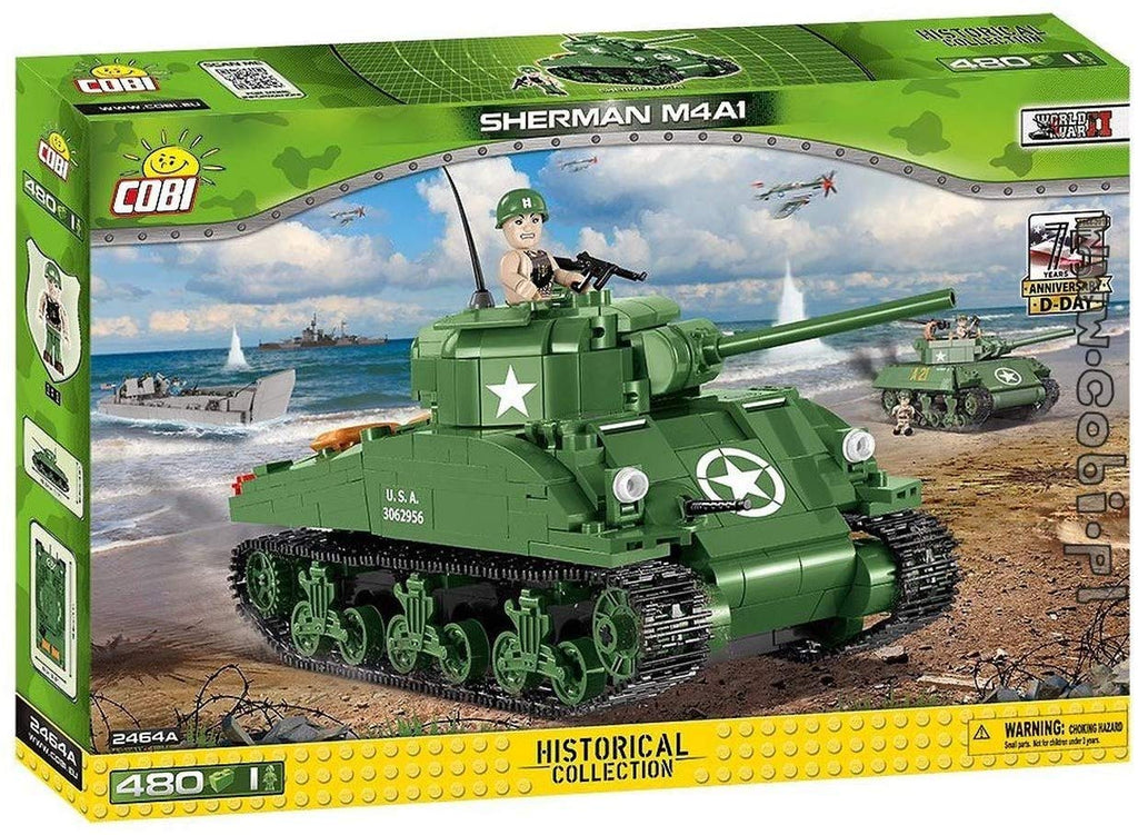 M4A1 Sherman Tank, D-Day, 480 Piece Block Kit By Cobi Box Front