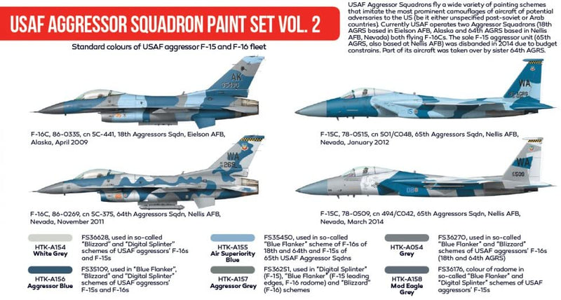USAF Aggressor Squadron Paint Set Vol. 2 Red Line (Airbrush-Dedicated) By Hataka Hobby