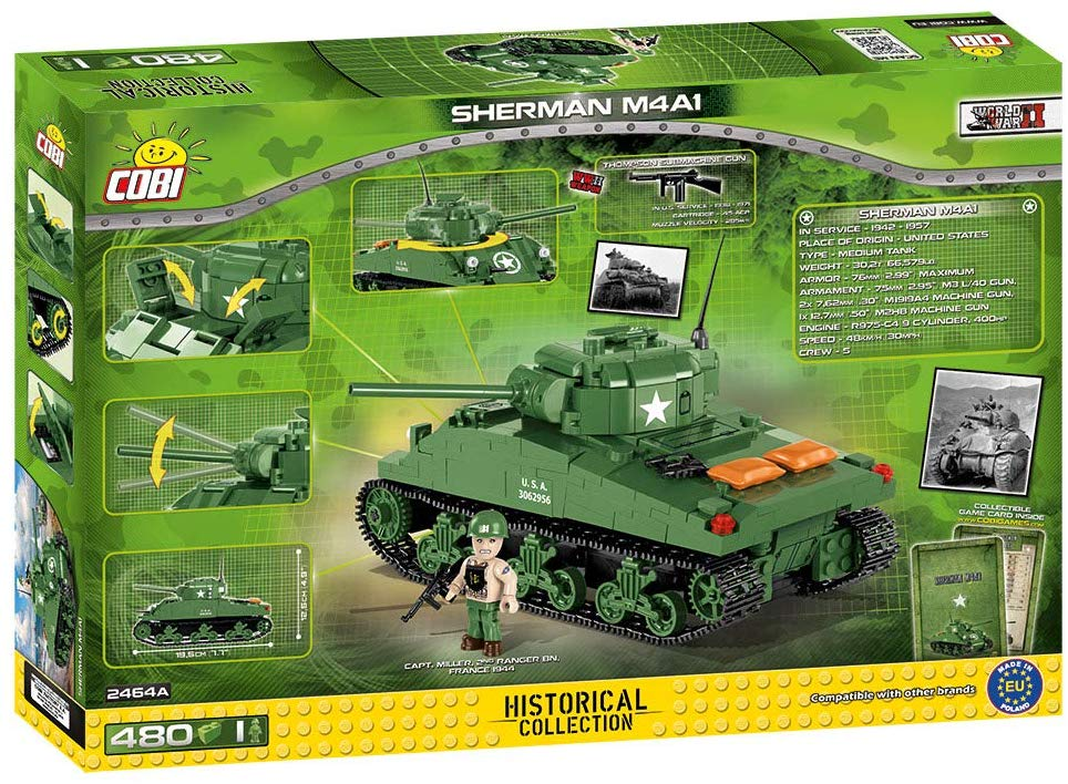M4A1 Sherman Tank, D-Day, 480 Piece Block Kit By Cobi Box Back