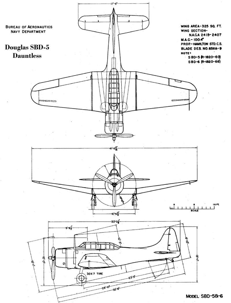 Douglas SBD-2 Dauntless,1:72 Scale Model By Oxford Diecast Schematic