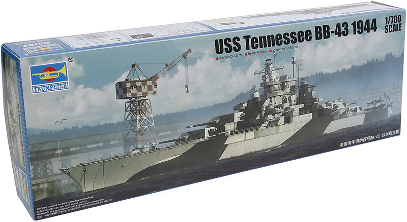 USS Tennessee BB-43 1944, 1:700 Scale Model Kit By Trumpeter