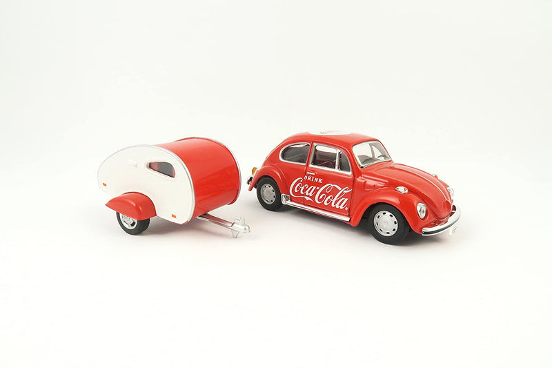 "Volkswagen Beetle W/ Teardrop Trailer 1967 ""Coca-Cola"" 1:43 Scale Diecast Model By Motor City Classics"
