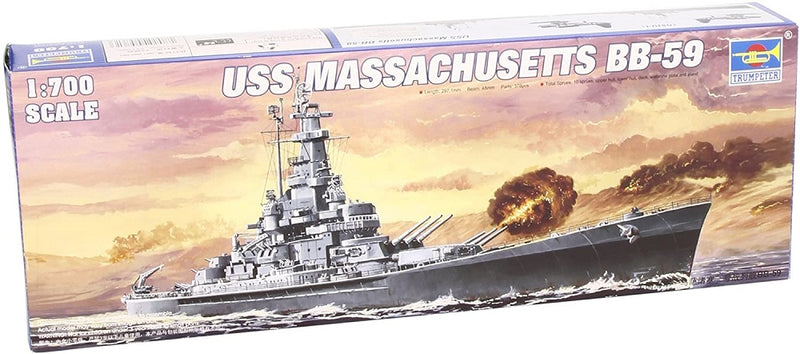 USS Massachusetts Battleship BB-59, 1:700 Scale Model Kit By Trumpeter