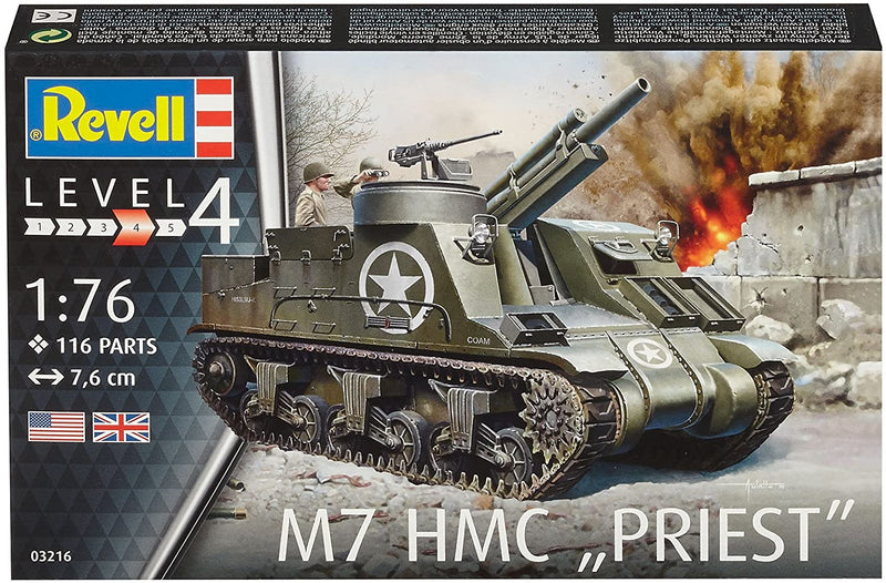 M7 HMC Priest 1/76 Scale Model Kit Box Front