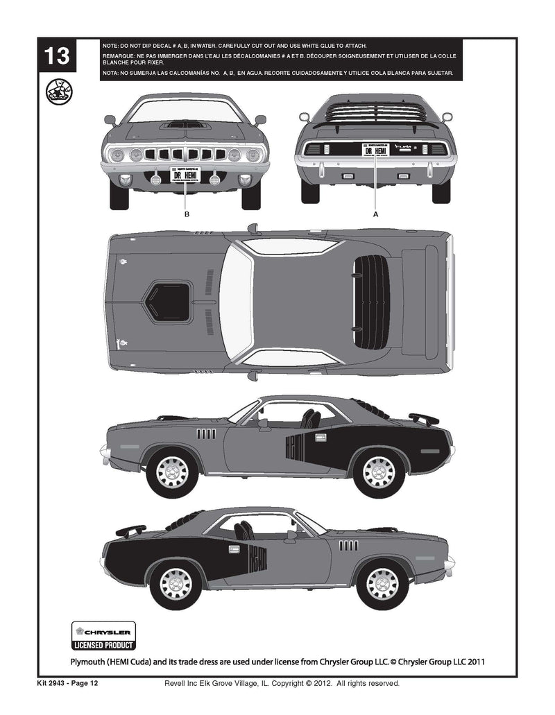 Plymouth 1971 HEMI Cuda 426 1/24 Scale Model Kity By Revell Instuctions Page 12