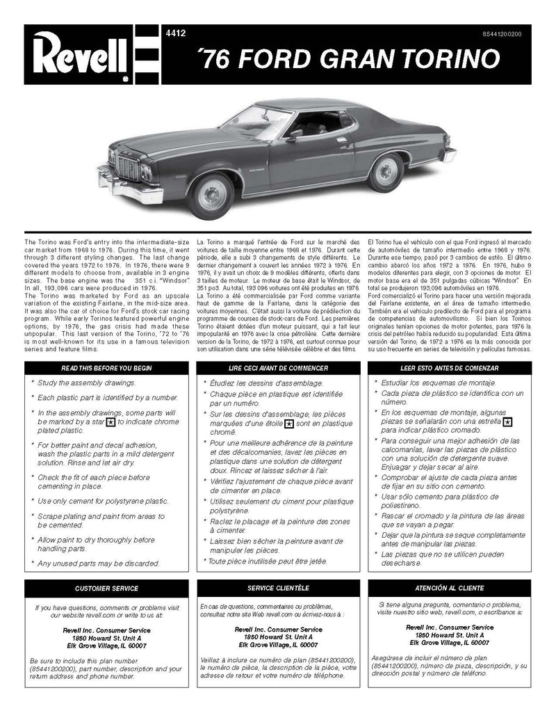 1976 Ford GranTorino 1:25 Scale Model Kit By Revell Instructions Page 1