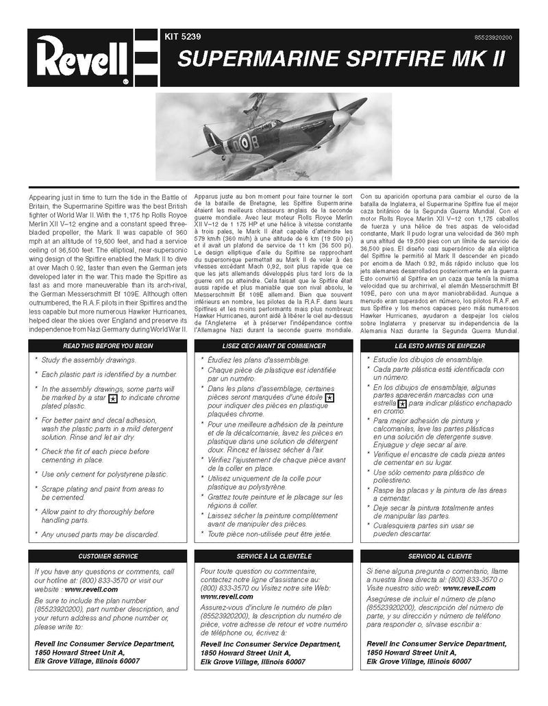 Supermarine Spitfire Mk II 1:48 Scale Model Kit By Revell Instuctions Page 1
