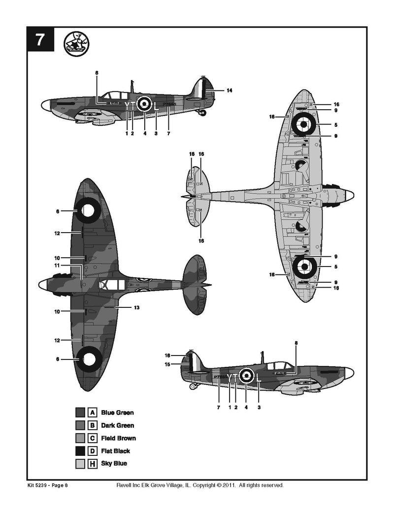 Supermarine Spitfire Mk II 1:48 Scale Model Kit By Revell Instructions Page 8