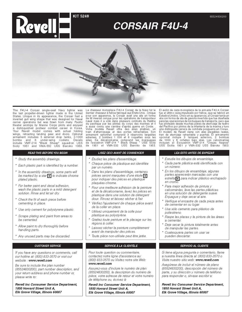 Vought F4U-4 Corsair, 1:48 Scale Model Kit By Revell Instuction Page 1