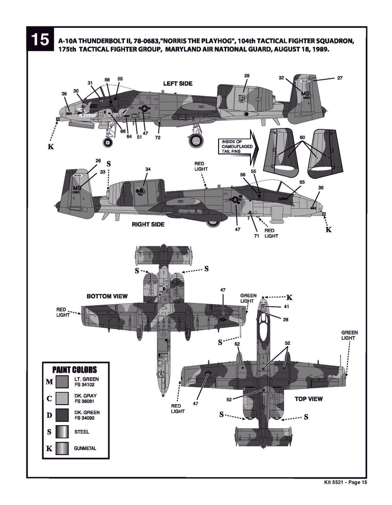 Fairchild Republic A-10 Thunderbolt II (Warthog)  1:48 Scale Model Kit By Revell Instructions Page 15