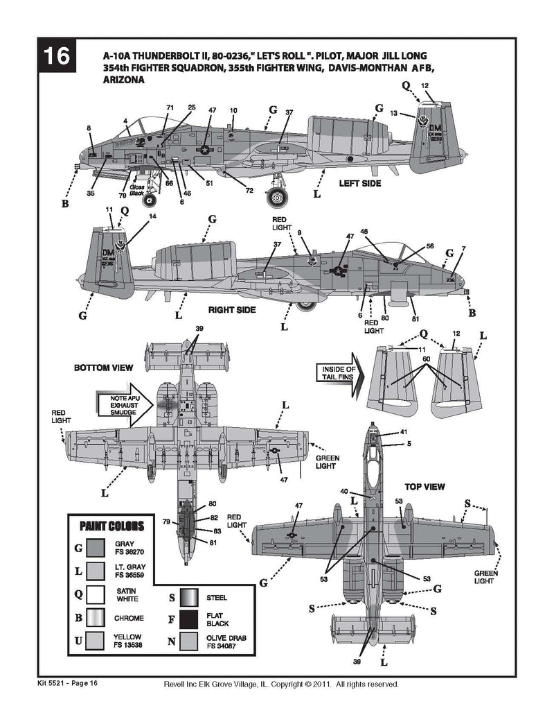 Fairchild Republic A-10 Thunderbolt II (Warthog)  1:48 Scale Model Kit By Revell Instructions Page 16