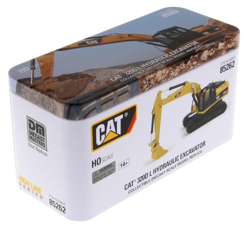 Caterpillar 320D L Hydraulic Excavator 1:87 (HO) Scale Model By Diecast Masters Box Front View