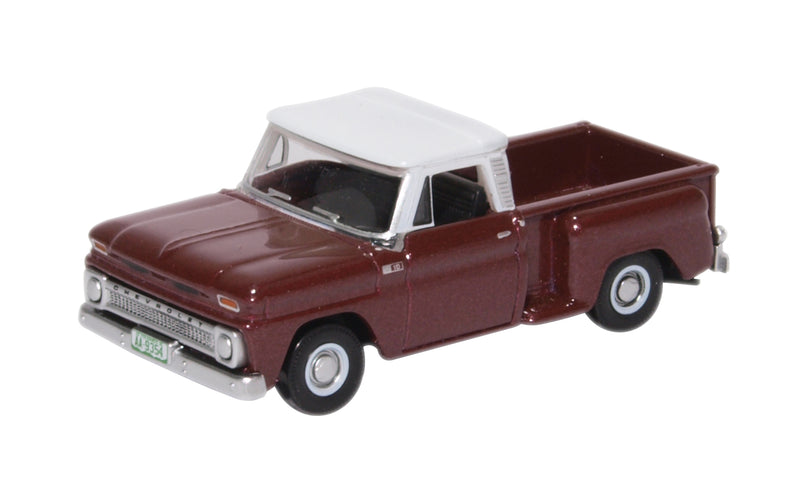 Chevrolet C10 Stepside Pickup 1965, Mettalic Maroon w/White Top, 1:87 (HO) Scale Model