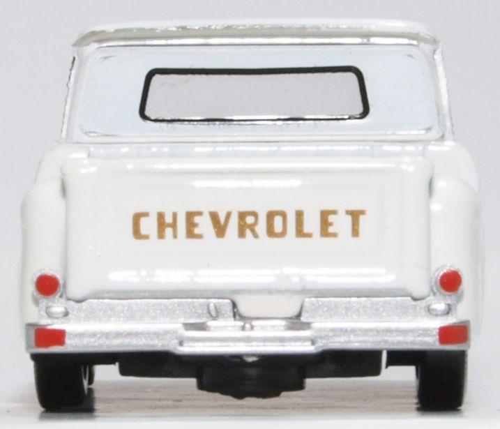 Chevrolet C10 Stepside Pickup 1965, White, 1:87 Scale Model By Oxford Diecast Rear View