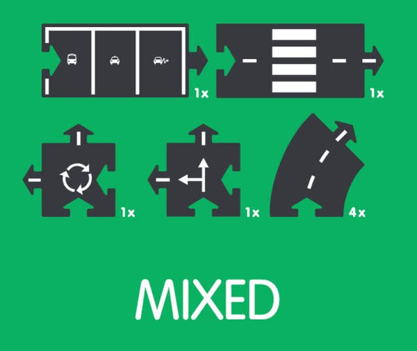 Mixed  8 Piece Flexible Toy Road Extension Set Contents