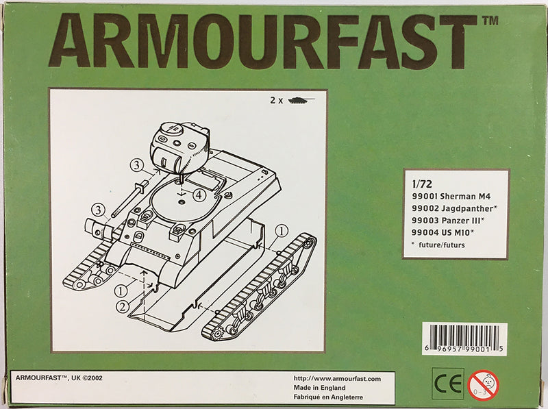 M4 Sherman Tank (2) 1/72 Scale Model Kit By Armourfast