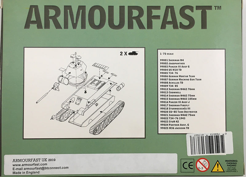 T-34-76 1943 Version (2) 1/72 Scale Model Kit By Armourfast