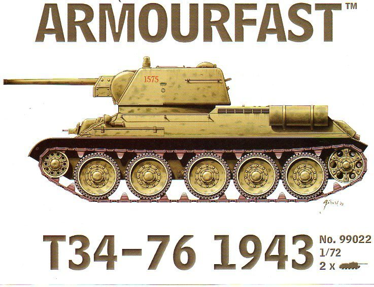 T34-76 1943 Version 1/72 Scale Model Kit By Armourfast