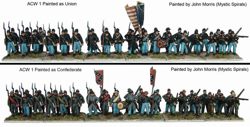 American Civil War Infantry 1861-1865, 28 mm Scale Model Plastic Figures