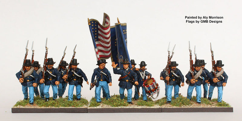 American Civil War Union Infantry 1861-1865 (28 mm) Scale Model Plastic Figures Unit Sample