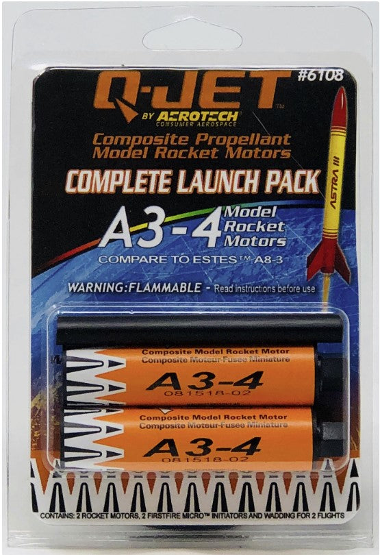 A3-4 Q-Jet (2-Pack) Model Rocket Motor By Quest Aerospace