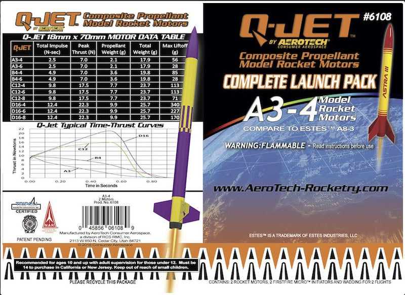 A3-4 Q-Jet (2-Pack) Model Rocket Motor Information Card