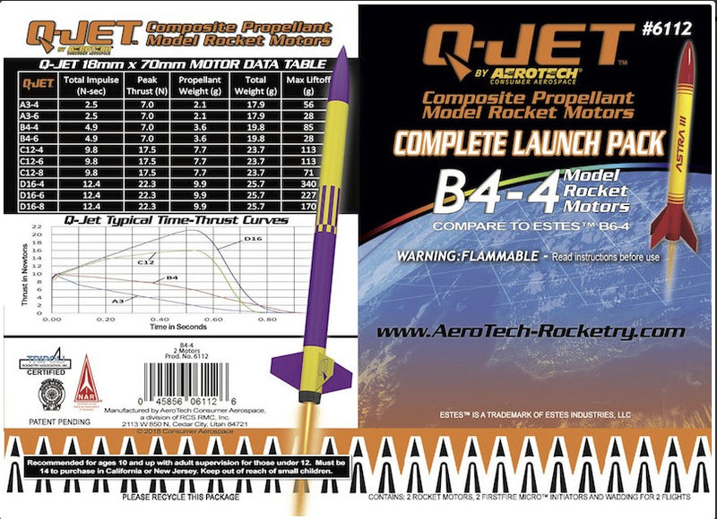 B4-4 Q-Jet Model Rocket Motor (2-Pack) Information