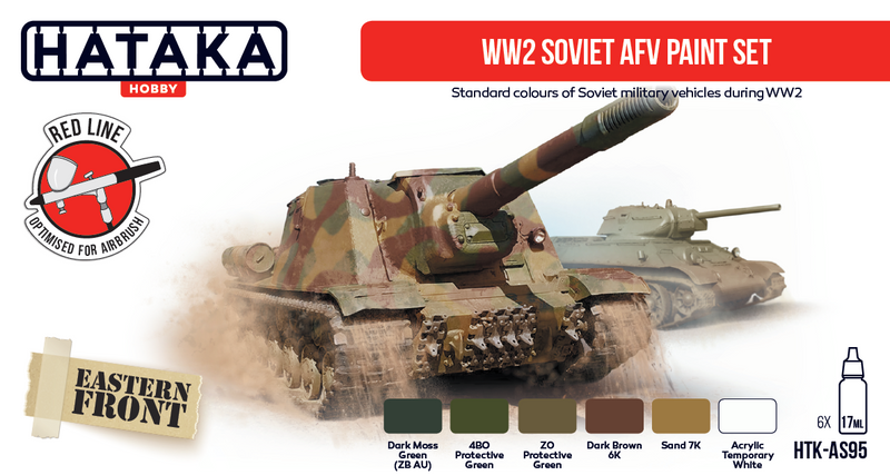 WW2 Soviet AFV Paint Set, Red Line (Airbrush-Dedicated) By Hataka Hobby