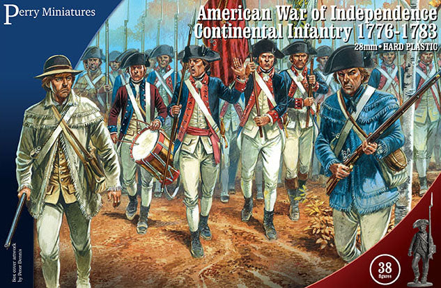 American War Of Independence Continental Infantry 1776-1783, 28 mm Scale Model Plastic Figures By Perry Miniatures