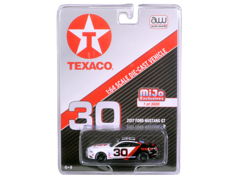 2017 Ford Mustang GT Texaco Racing No.30 Black & White (MiJo Exclusive) 1:64 Scale Diecast Model By Auto World