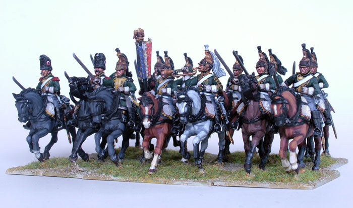 Napoleonic French Dragoons 1812 -1815, 28 mm Scale Model Plastic Figures Painted Sample