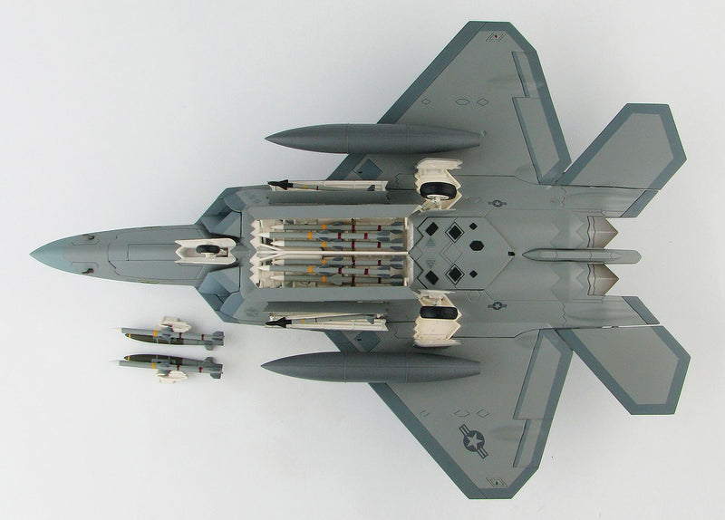 "Lockheed Martin F-22A Raptor, 43rd Fighter Squadron ""Hornets"" 2008, 1:72 Scale Diecast Model By Hobby Master Bottom View"