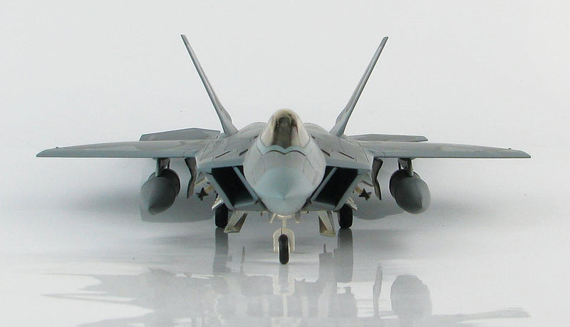 "Lockheed Martin F-22A Raptor, 43rd Fighter Squadron ""Hornets"" 2008, 1:72 Scale Diecast Model By Hobby Master Front View"