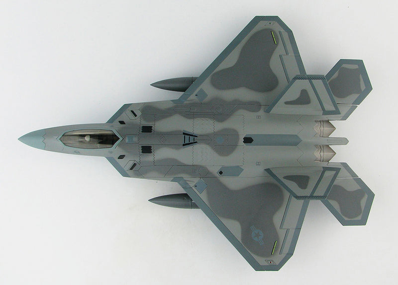 "Lockheed Martin F-22A Raptor, 43rd Fighter Squadron ""Hornets"" 2008, 1:72 Scale Diecast Model By Hobby Master Top View"