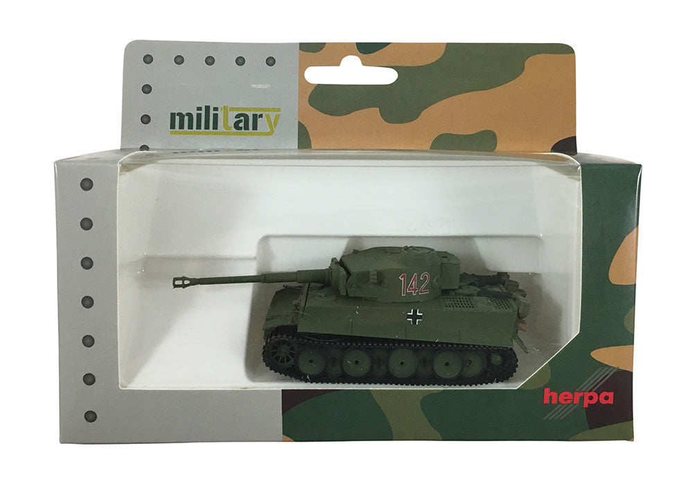 Tiger I (PzKpfw VI Ausf. H) Heavy Tank #142 Tunisia Campaign (Olive Drab) 1:87 (HO) Scale Model By Herpa