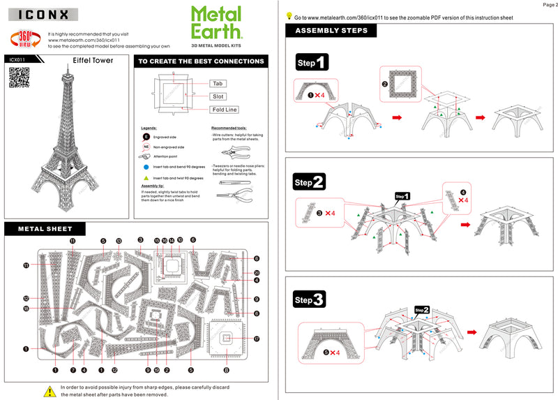 Eiffel Tower Metal Earth Iconx Model Kit Instructions Page 1