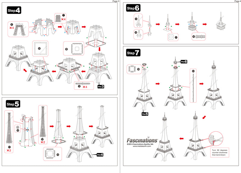 Eiffel Tower Metal Earth Iconx Model Kit Instructions Page 2