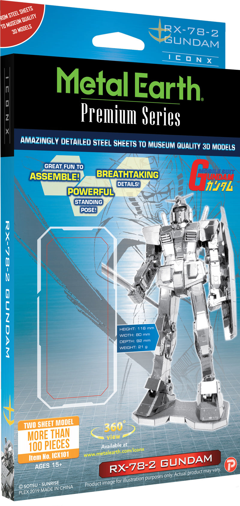 RX-78-2 Gundam  Metal Earth Iconx Model Kit Front Of Package