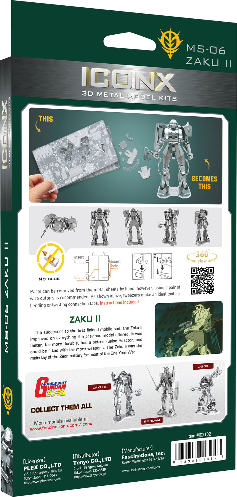 Gundam MS-06 Zaku II Metal Earth Iconx Model Kit Back Of Package