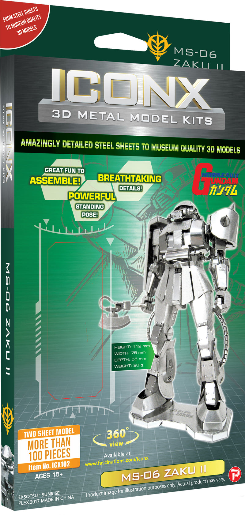 Gundam MS-06 Zaku II Metal Earth Iconx Model Kit Front