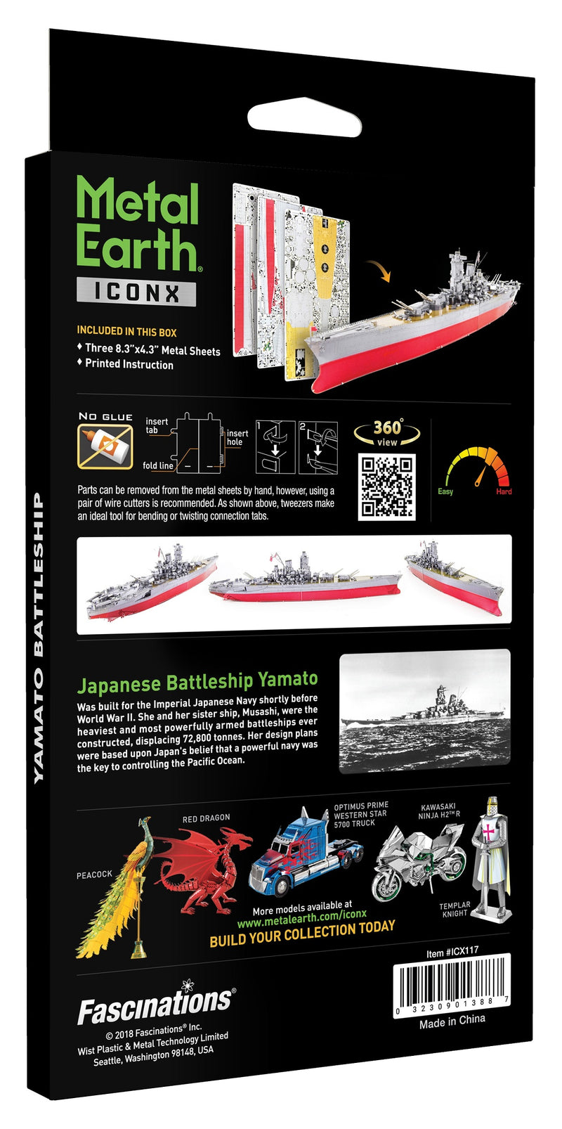 IJN Yamato Battleship Metal Earth Iconx Model Kit Back Of Box