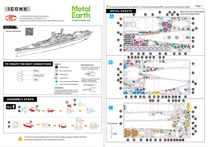 IJN Yamato Battleship Metal Earth Iconx Model Kit Instructions Page 1 & 2