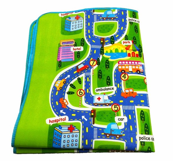 "Children's City Scene Play Mat 63"" x 51"" With Non-Slip Backing By Imiwei Folded"