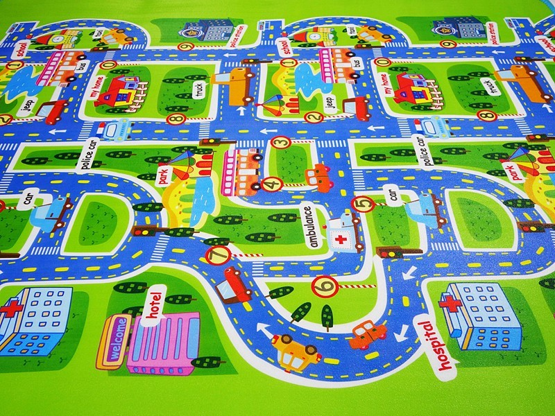 "Kids Play Mat City Scene 63"" x 51"" With Non-Slip Backing By Imiwei"