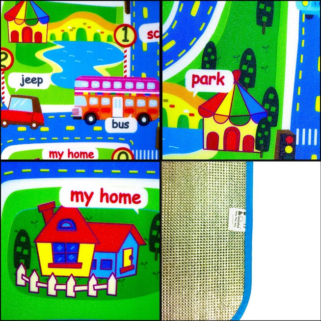 "Children's City Scene Play Mat 63"" x 51"" With Non-Slip Backing By Imiwei Details"