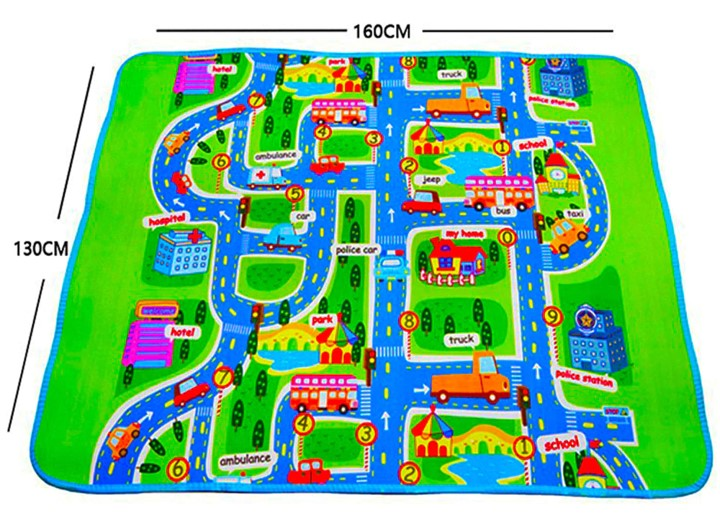 "Children's City Scene Play Mat 63"" x 51"" With Non-Slip Backing By Imiwei"