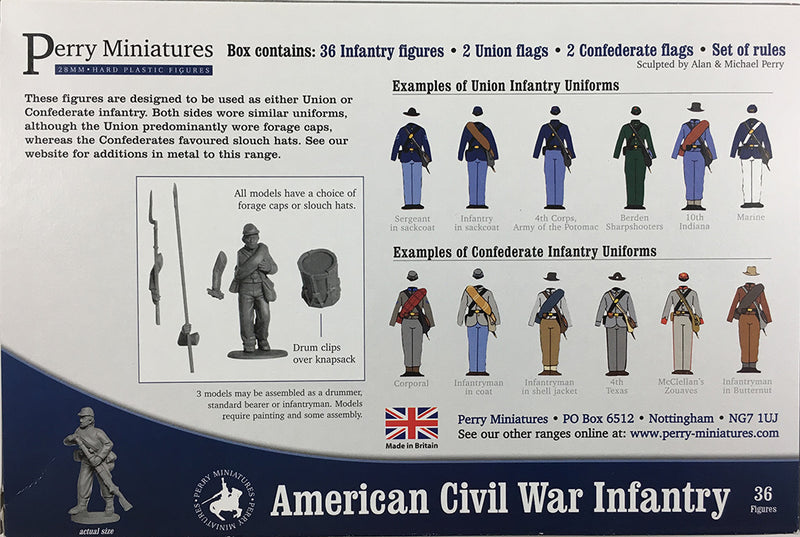 American Civil War Infantry 1861-1865 (28 mm) Scale Model Plastic Figures By Perry Miniatures Back Of Box