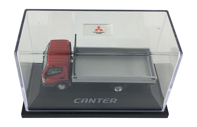 Mitsubishi Fuso Canter F E (Sterling 360) Small Utility Flat Bed (Red Cab) Scale 1:87 (HO Scale) Model By Promotex Display Case