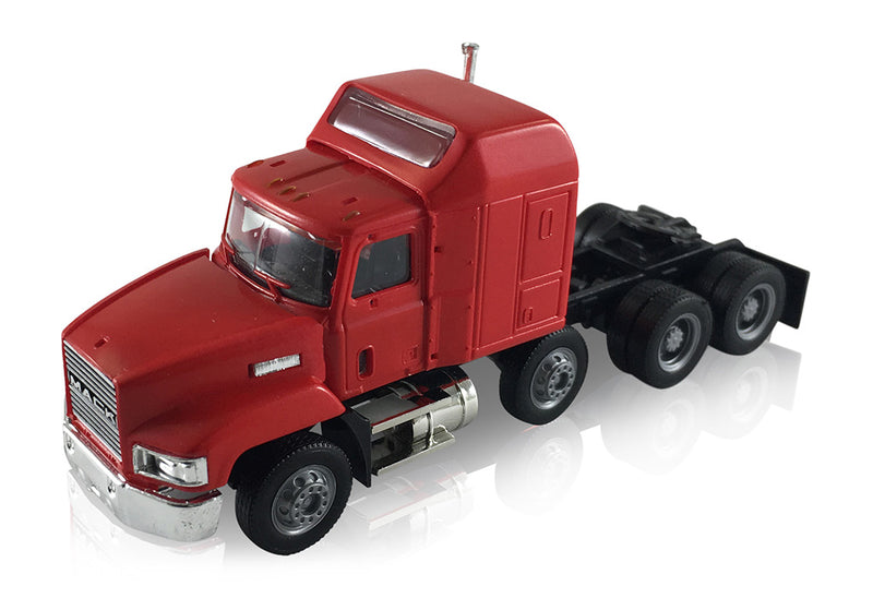 Mack 603/613 Truck – Lift Axle (Red)  Scale 1:87 (HO Scale) Model By Promotex Left Front View