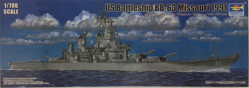 USS Missouri Battleship BB-63 1991, 1:700 Scale Model Kit By Trumpeter